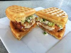 wings n waffles chicken sandwich